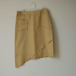 Mustard Asymmetrical Linen Skirt